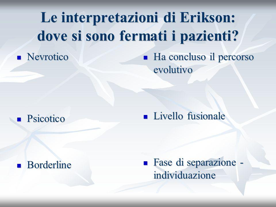 Le interpretazioni di Erikson: dove si sono fermati i pazienti? Nevrotico Nevrotico Psicotico Psicotico Borderline Borderline Ha concluso il percorso
