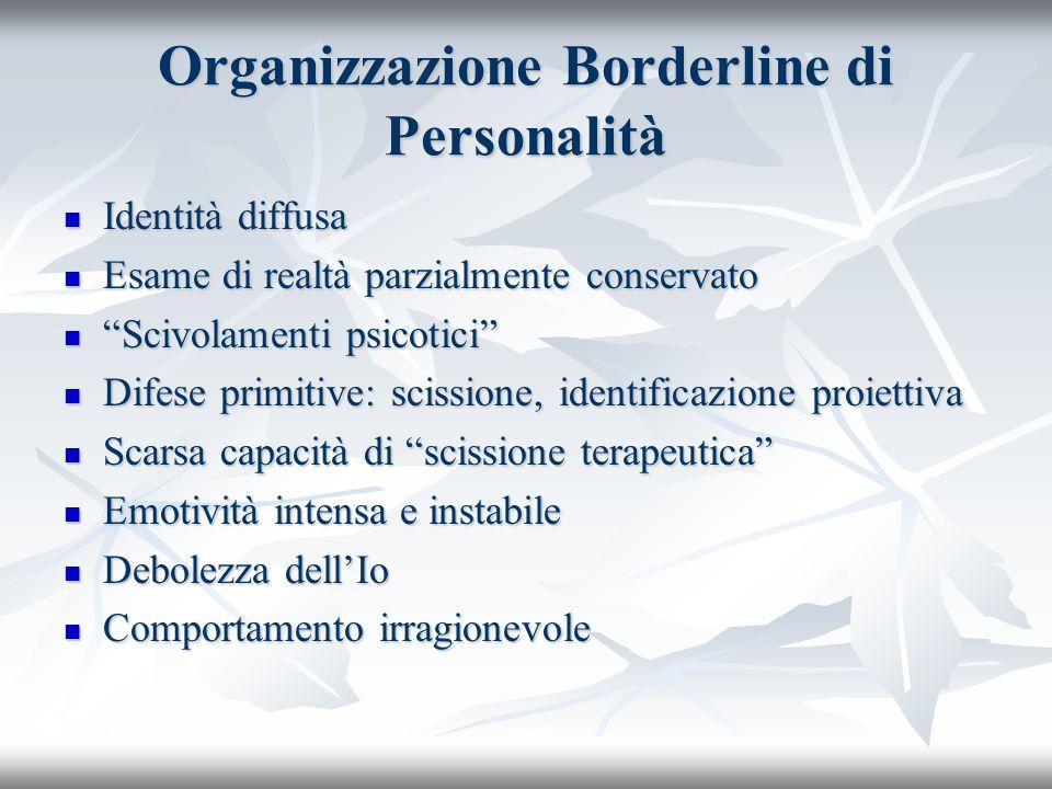 Organizzazione Borderline di Personalità Identità diffusa Identità diffusa Esame di realtà parzialmente conservato Esame di realtà parzialmente conser