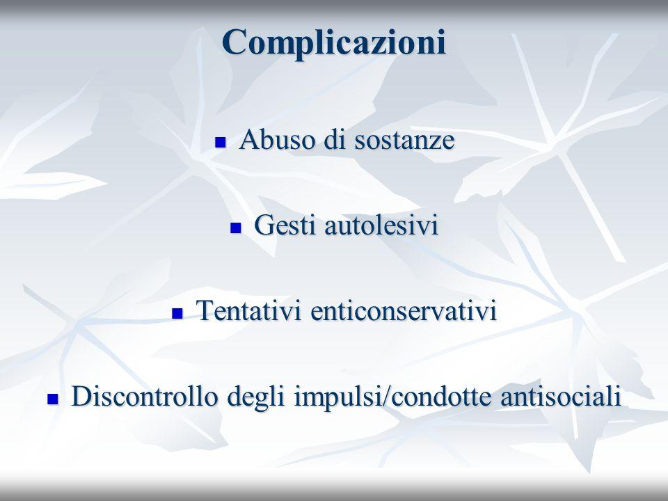 Complicazioni Abuso di sostanze Abuso di sostanze Gesti autolesivi Gesti autolesivi Tentativi enticonservativi Tentativi enticonservativi Discontrollo