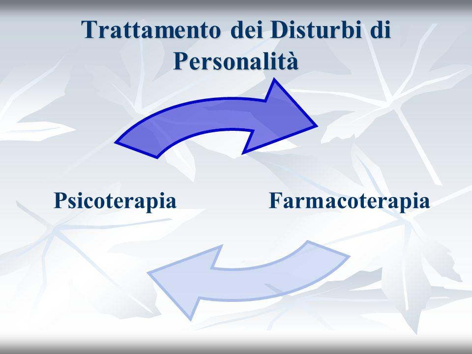 Trattamento dei Disturbi di Personalità FarmacoterapiaPsicoterapia