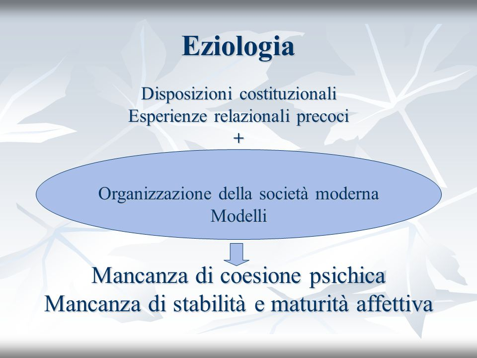 Eziologia Disposizioni costituzionali Esperienze relazionali precoci + Mancanza di coesione psichica Mancanza di stabilità e maturità affettiva Organi