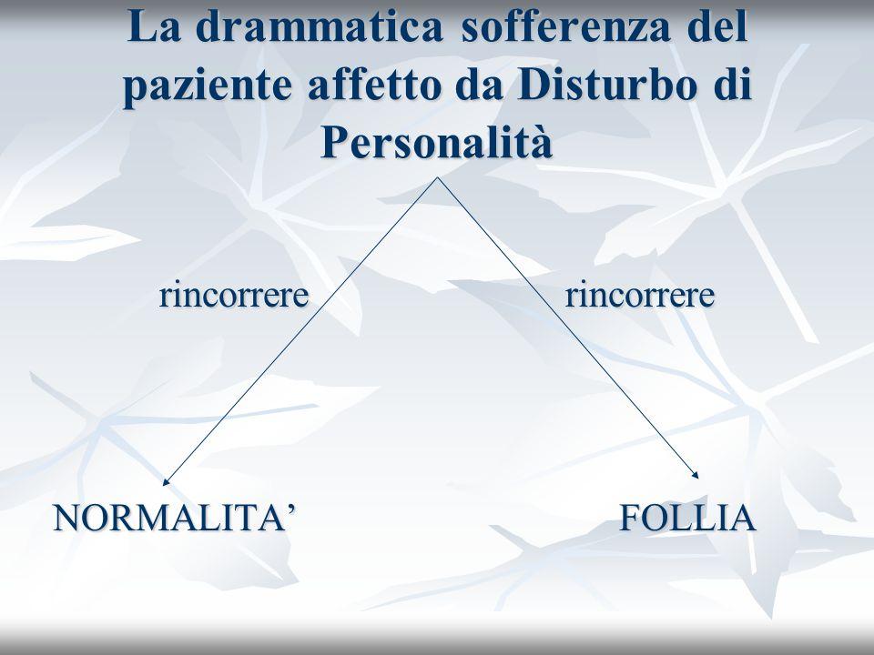 La drammatica sofferenza del paziente affetto da Disturbo di Personalità rincorrere rincorrere rincorrere rincorrere NORMALITA FOLLIA