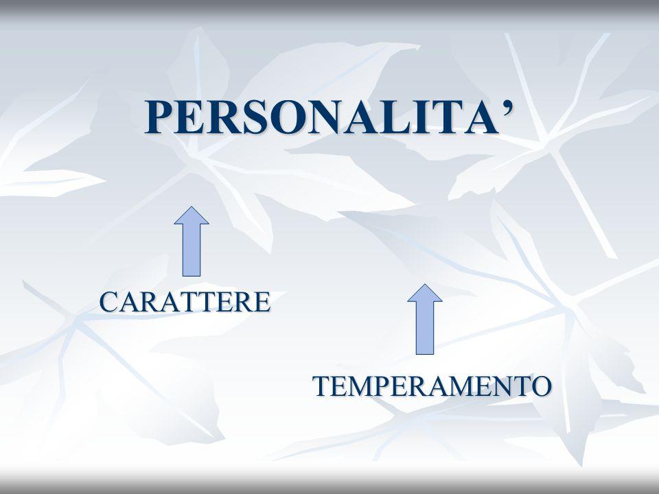PERSONALITA CARATTERE CARATTERE TEMPERAMENTO TEMPERAMENTO