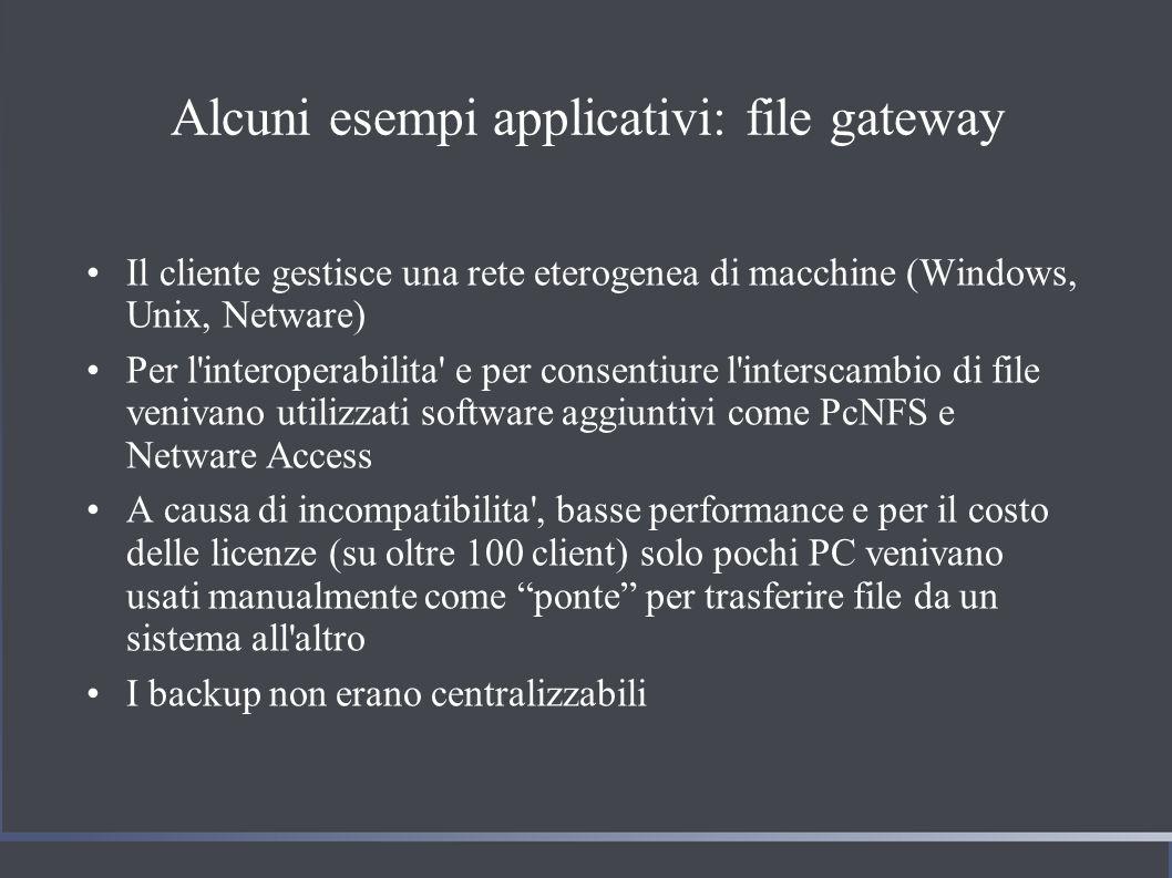 Alcuni esempi applicativi: file gateway Il cliente gestisce una rete eterogenea di macchine (Windows, Unix, Netware) Per l interoperabilita e per consentiure l interscambio di file venivano utilizzati software aggiuntivi come PcNFS e Netware Access A causa di incompatibilita , basse performance e per il costo delle licenze (su oltre 100 client) solo pochi PC venivano usati manualmente come ponte per trasferire file da un sistema all altro I backup non erano centralizzabili