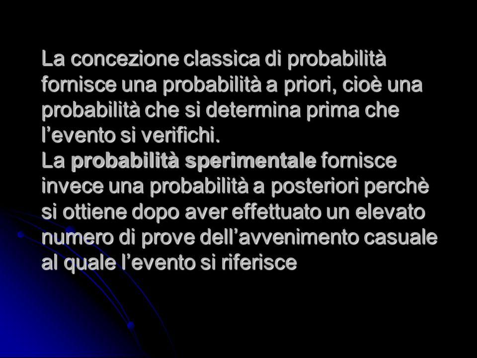 La concezione classica di probabilità fornisce una probabilità a priori, cioè una probabilità che si determina prima che levento si verifichi. La prob
