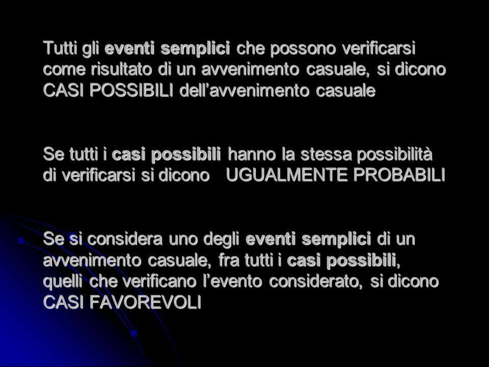 Tutti gli eventi semplici che possono verificarsi come risultato di un avvenimento casuale, si dicono CASI POSSIBILI dellavvenimento casuale Se tutti