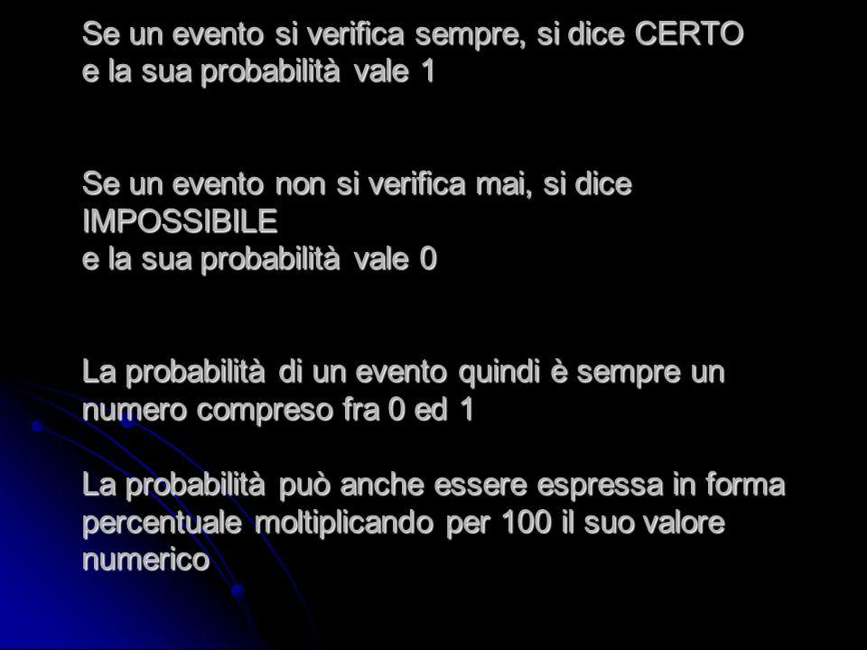 Se un evento si verifica sempre, si dice CERTO e la sua probabilità vale 1 Se un evento non si verifica mai, si dice IMPOSSIBILE e la sua probabilità
