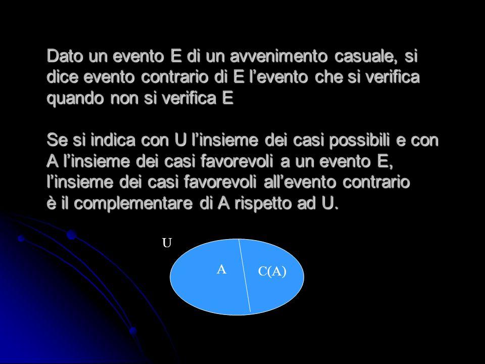 Dato un evento E di un avvenimento casuale, si dice evento contrario di E levento che si verifica quando non si verifica E Se si indica con U linsieme