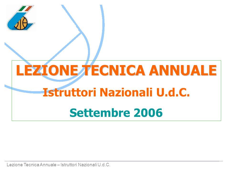 Lezione Tecnica Annuale – Istruttori Nazionali U.d.C. LEZIONE TECNICA ANNUALE Istruttori Nazionali U.d.C. Settembre 2006