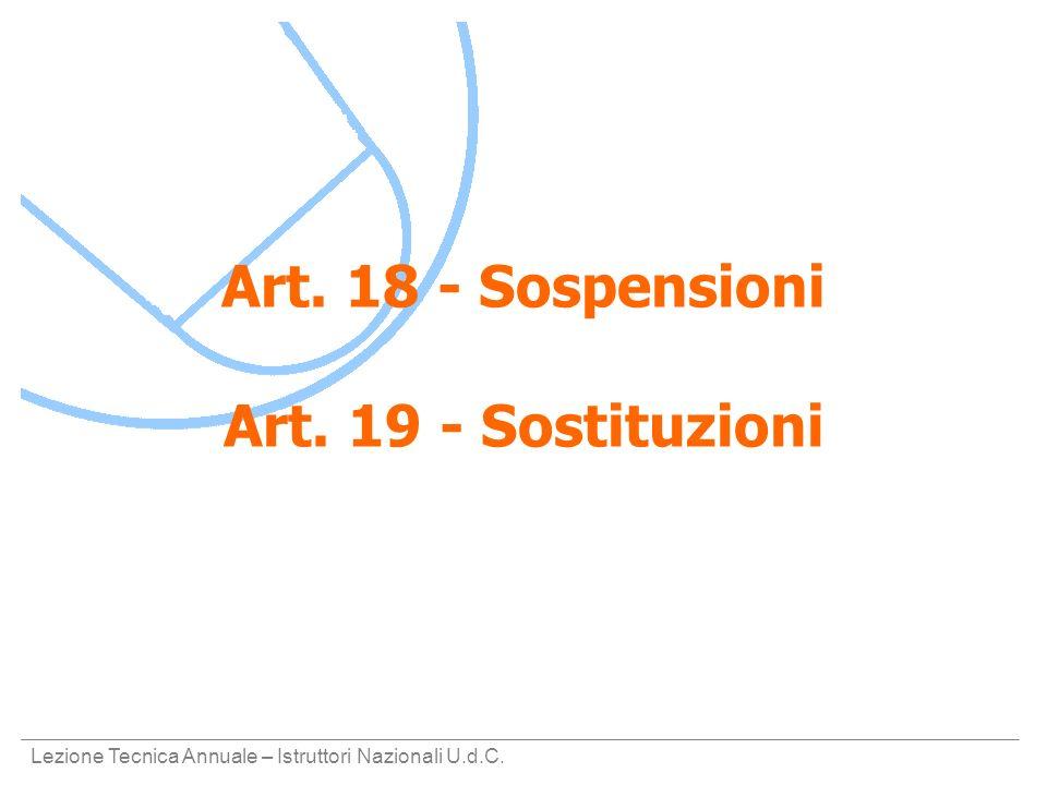 Lezione Tecnica Annuale – Istruttori Nazionali U.d.C. Art. 18 - Sospensioni Art. 19 - Sostituzioni