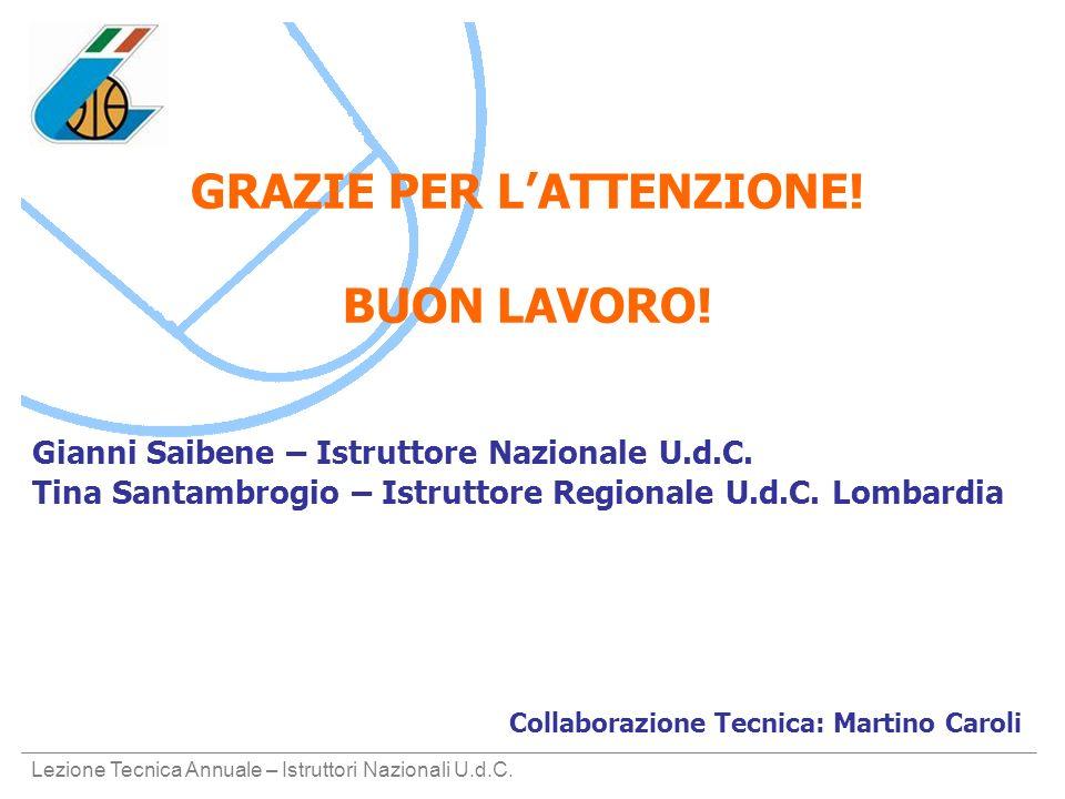Lezione Tecnica Annuale – Istruttori Nazionali U.d.C. GRAZIE PER LATTENZIONE! BUON LAVORO! Gianni Saibene – Istruttore Nazionale U.d.C. Tina Santambro