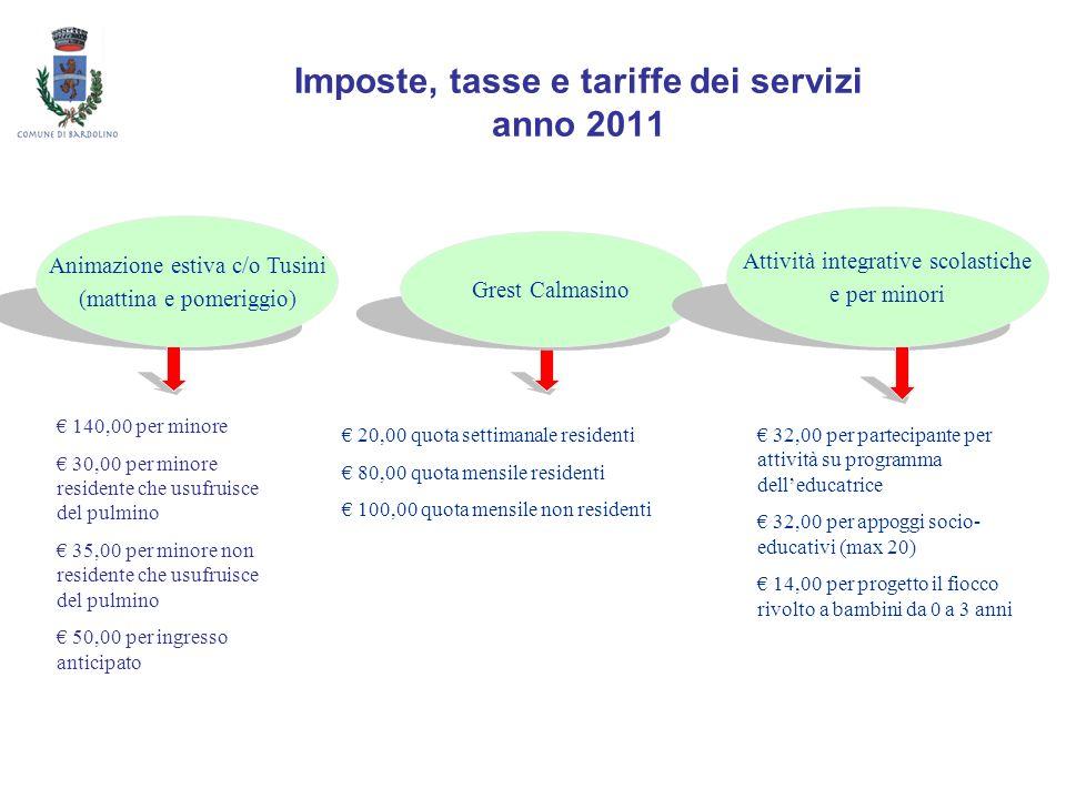 Imposte, tasse e tariffe dei servizi anno 2011 Animazione estiva c/o Tusini (mattina e pomeriggio) Grest Calmasino Attività integrative scolastiche e