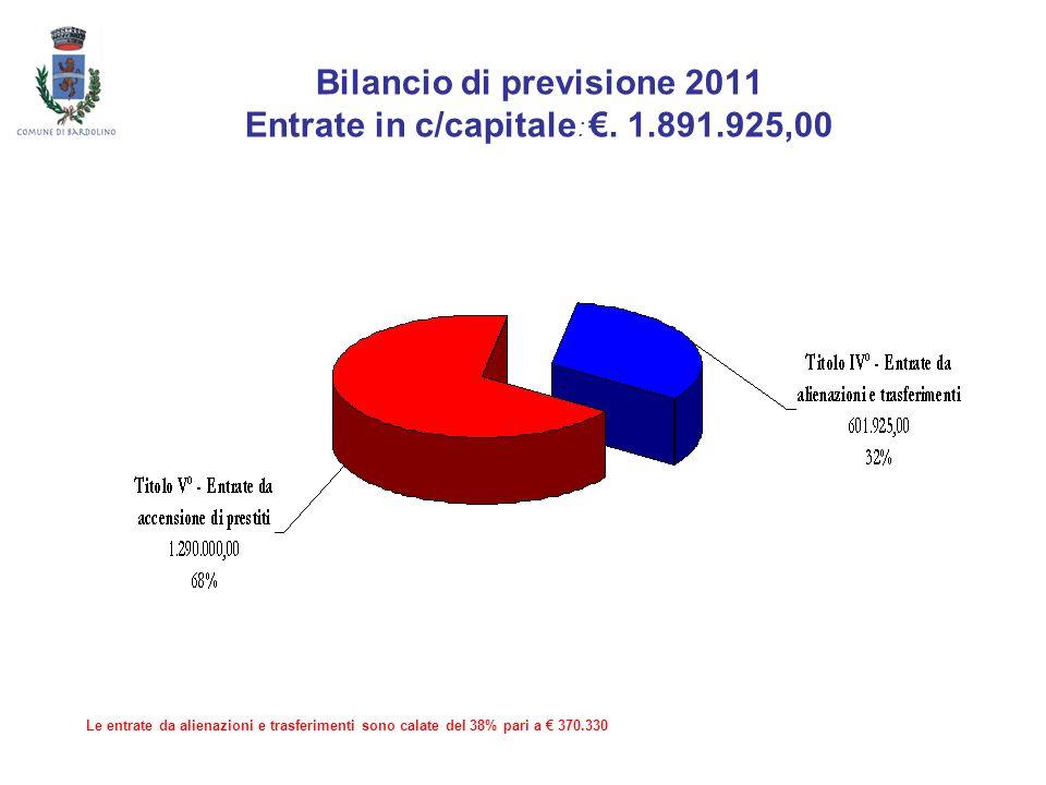 Bilancio di previsione 2011 Entrate in c/capitale :. 1.891.925,00 Le entrate da alienazioni e trasferimenti sono calate del 38% pari a 370.330