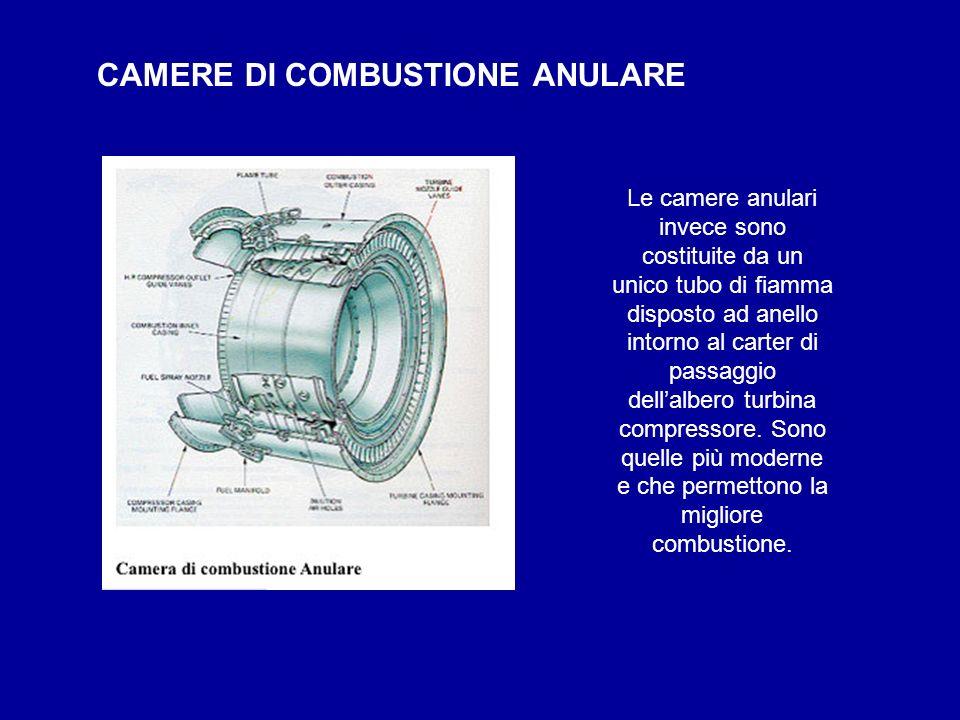 Le camere anulari invece sono costituite da un unico tubo di fiamma disposto ad anello intorno al carter di passaggio dellalbero turbina compressore.