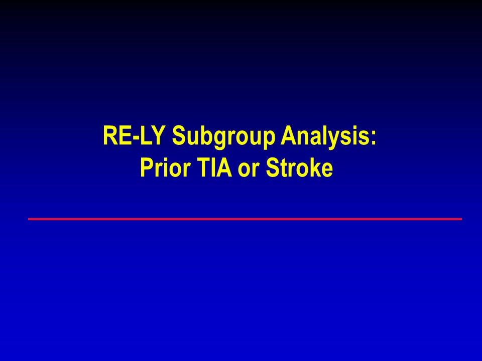 RE-LY Subgroup Analysis: Prior TIA or Stroke
