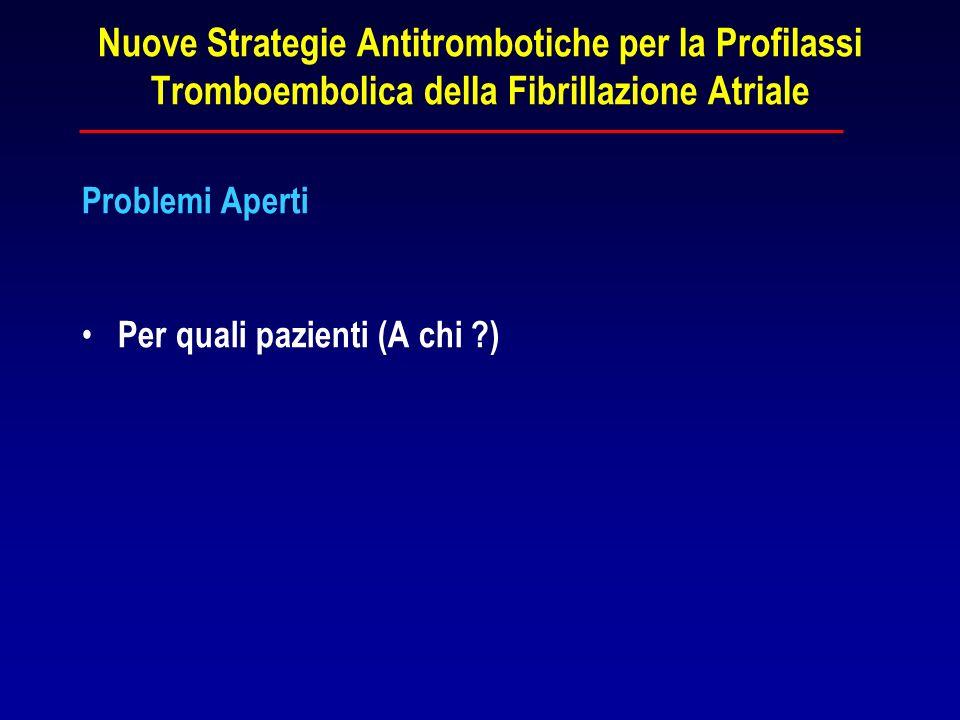 Nuove Strategie Antitrombotiche per la Profilassi Tromboembolica della Fibrillazione Atriale Problemi Aperti Per quali pazienti (A chi ?)