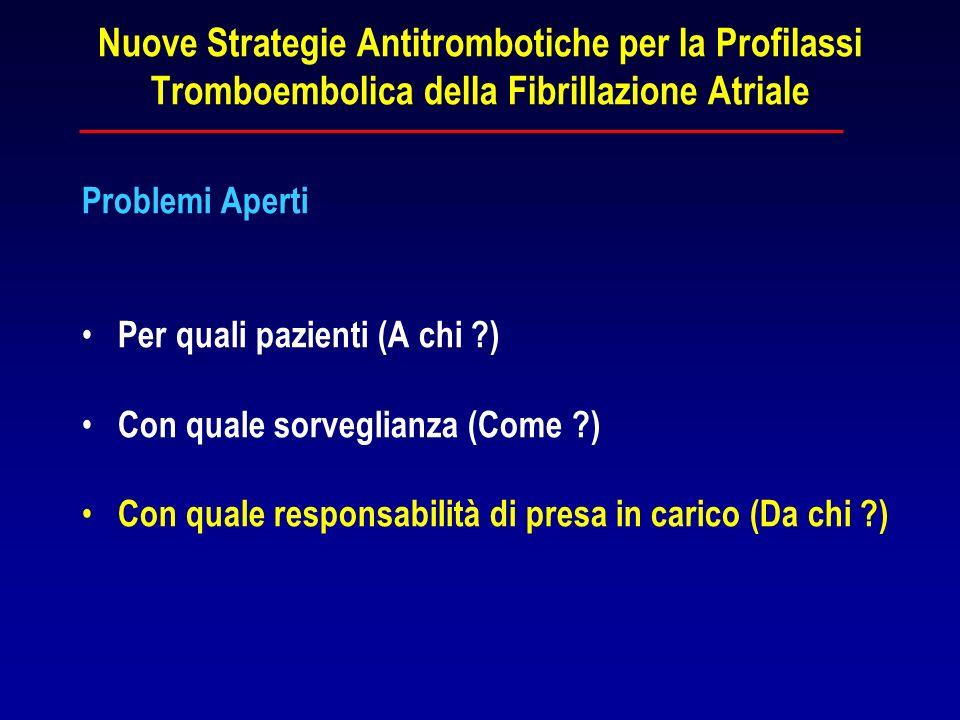 Nuove Strategie Antitrombotiche per la Profilassi Tromboembolica della Fibrillazione Atriale Problemi Aperti Per quali pazienti (A chi ?) Con quale so