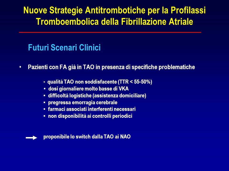 Nuove Strategie Antitrombotiche per la Profilassi Tromboembolica della Fibrillazione Atriale Futuri Scenari Clinici Pazienti con FA già in TAO in pres