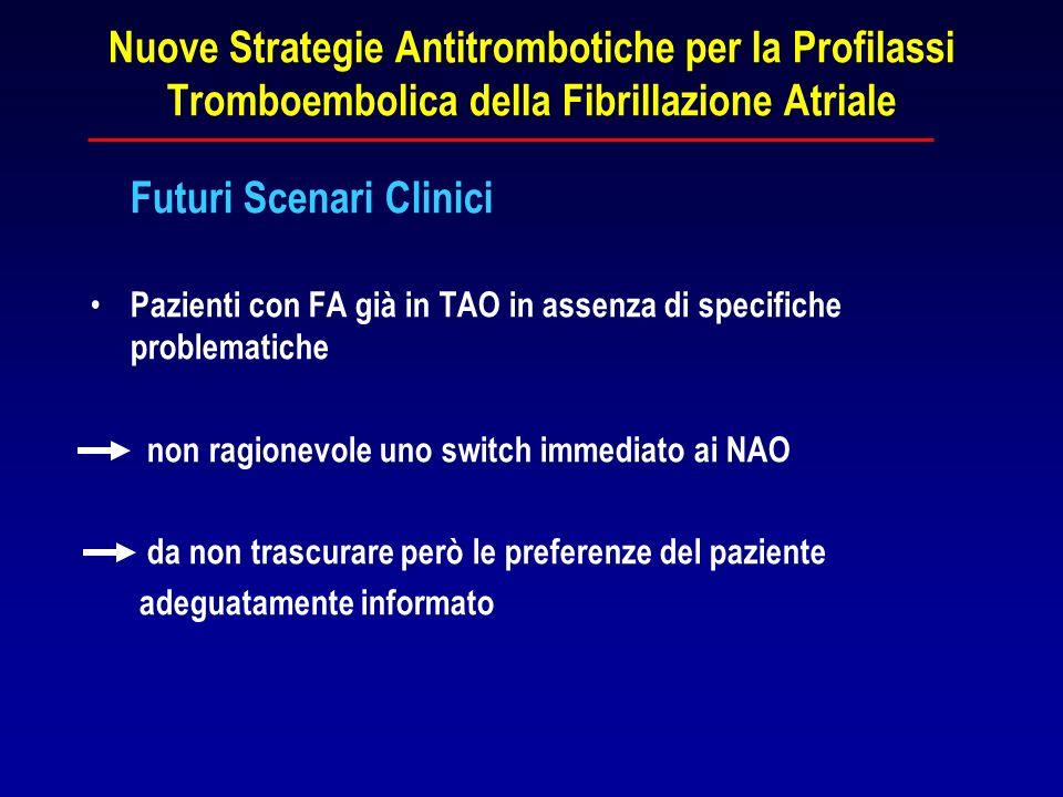 Nuove Strategie Antitrombotiche per la Profilassi Tromboembolica della Fibrillazione Atriale Futuri Scenari Clinici Pazienti con FA già in TAO in asse