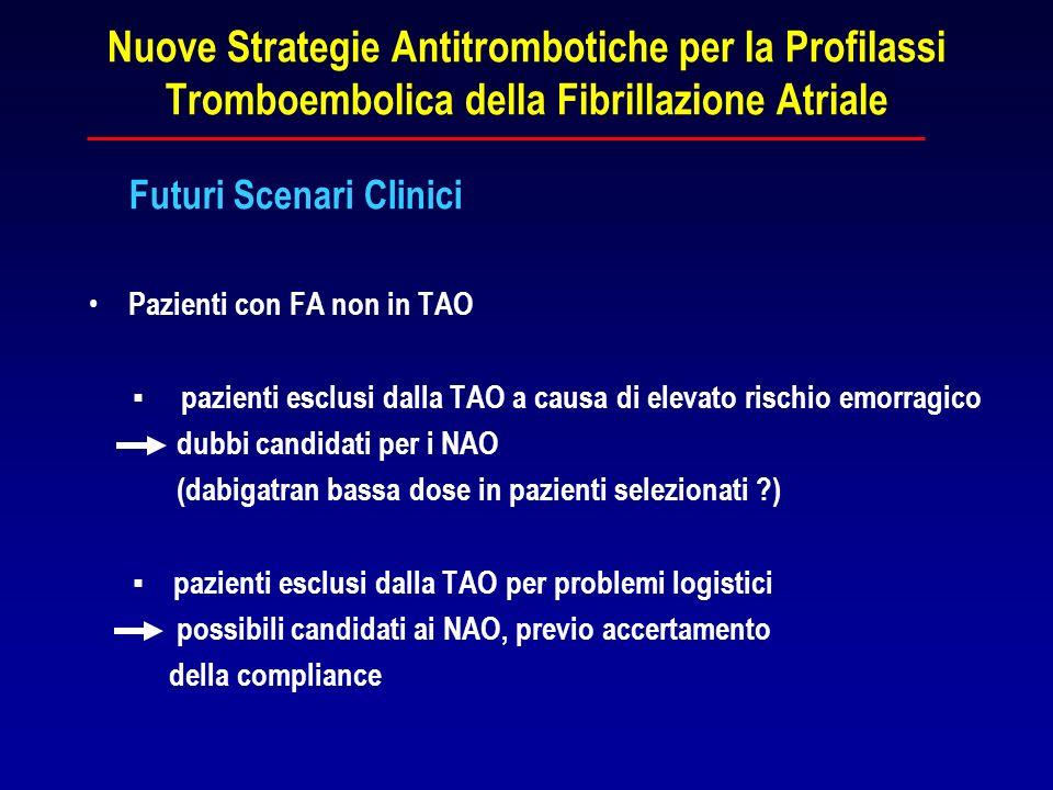 Nuove Strategie Antitrombotiche per la Profilassi Tromboembolica della Fibrillazione Atriale Futuri Scenari Clinici Pazienti con FA non in TAO pazient