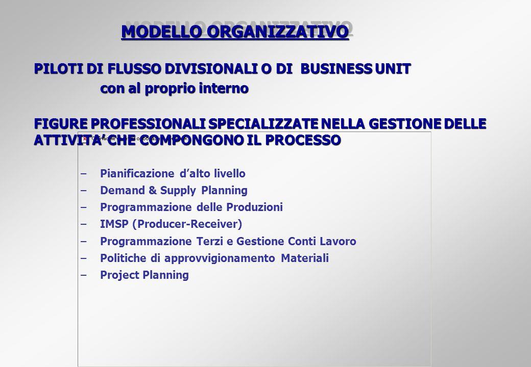 MODELLO ORGANIZZATIVO PILOTI DI FLUSSO DIVISIONALI O DI BUSINESS UNIT con al proprio interno FIGURE PROFESSIONALI SPECIALIZZATE NELLA GESTIONE DELLE A