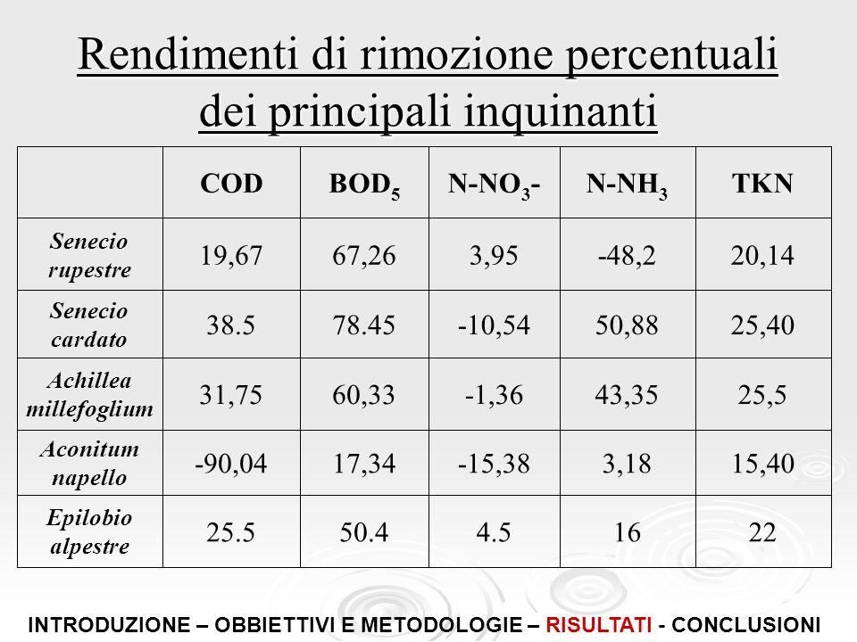 Rendimenti di rimozione percentuali dei principali inquinanti 22164.550.425.5 Epilobio alpestre 15,403,18-15,3817,34-90,04 Aconitum napello 25,543,35-