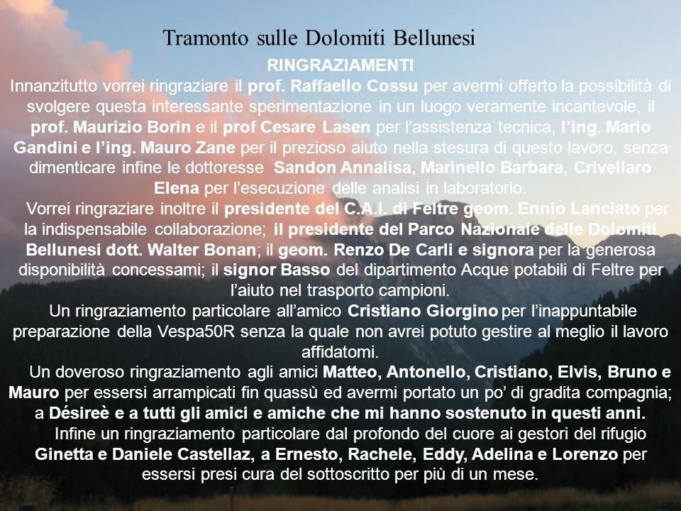 Tramonto sulle Dolomiti Bellunesi RINGRAZIAMENTI Innanzitutto vorrei ringraziare il prof. Raffaello Cossu per avermi offerto la possibilità di svolger
