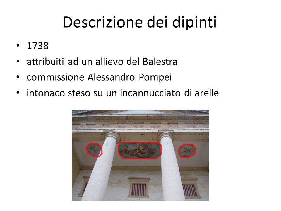 Descrizione dei dipinti 1738 attribuiti ad un allievo del Balestra commissione Alessandro Pompei intonaco steso su un incannucciato di arelle