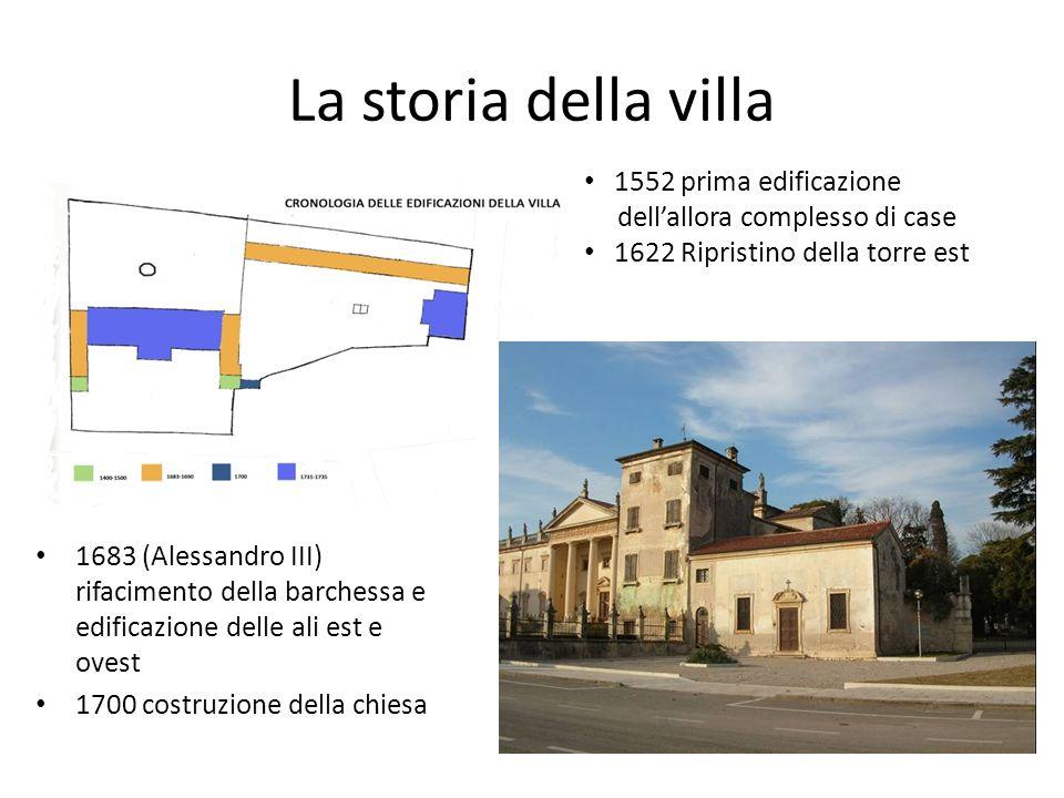 La storia della villa 1683 (Alessandro III) rifacimento della barchessa e edificazione delle ali est e ovest 1700 costruzione della chiesa 1552 prima
