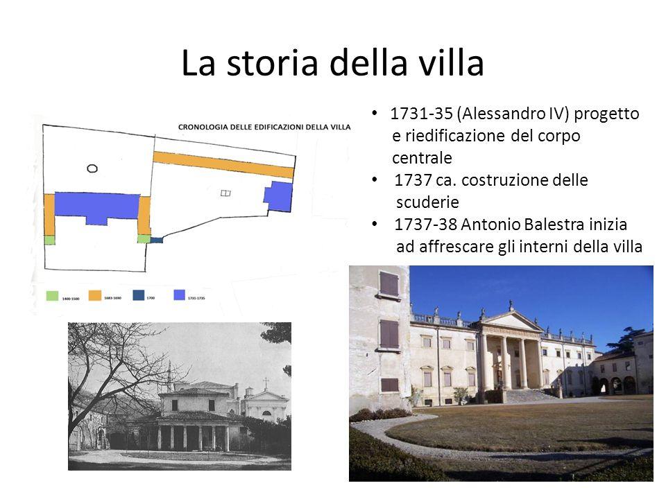 La storia della villa 1731-35 (Alessandro IV) progetto e riedificazione del corpo centrale 1737 ca. costruzione delle scuderie 1737-38 Antonio Balestr