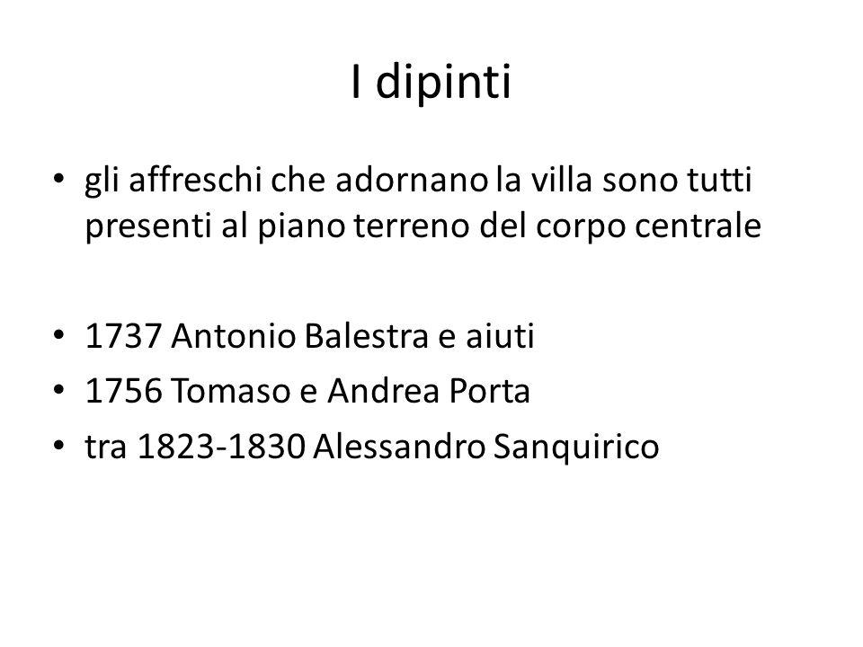 I dipinti SALONE CENTRALE 1737 Antonio Balestra apparato architettonico diviso in due zone illusionistico loggiato storie mitologiche sul soffitto è raffigurato il trionfo di eros