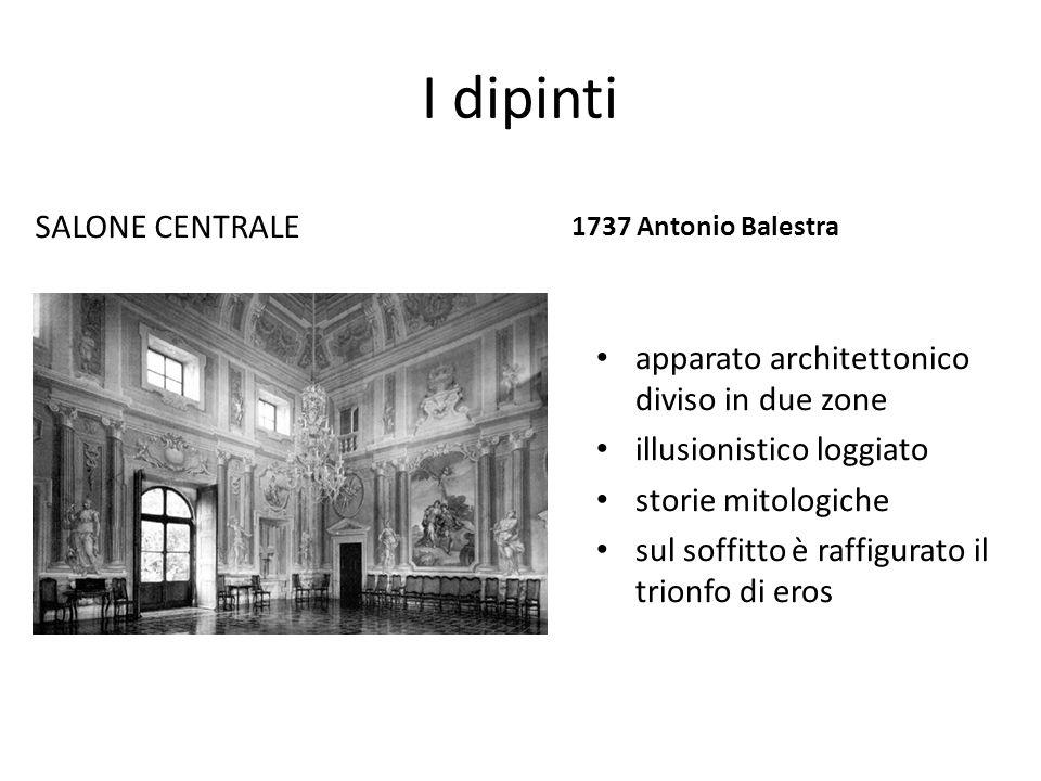 I dipinti SALONE CENTRALE 1737 Antonio Balestra apparato architettonico diviso in due zone illusionistico loggiato storie mitologiche sul soffitto è r