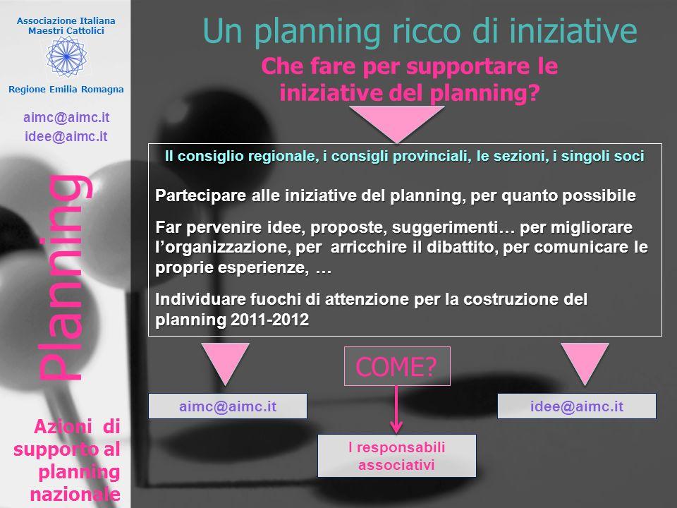 Associazione Italiana Maestri Cattolici Regione Emilia Romagna Un planning ricco di iniziative Azioni di supporto al planning nazionale Planning Che f