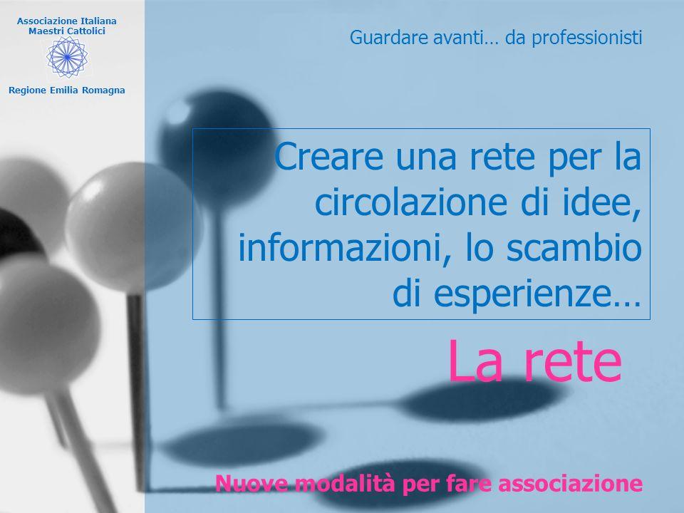 Associazione Italiana Maestri Cattolici Regione Emilia Romagna Nuove modalità per fare associazione Guardare avanti… da professionisti La rete Creare