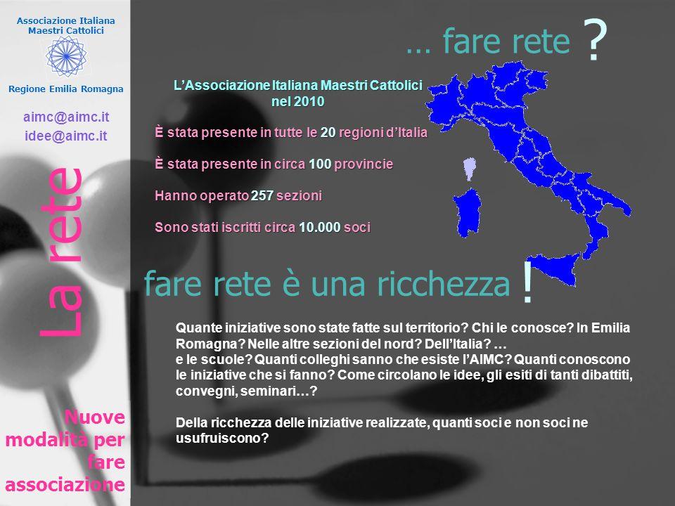 Associazione Italiana Maestri Cattolici Regione Emilia Romagna … fare rete Nuove modalità per fare associazione LAssociazione Italiana Maestri Cattoli