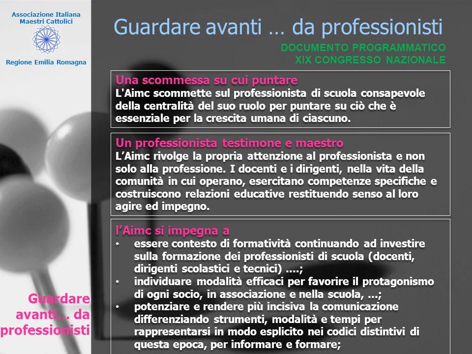 Associazione Italiana Maestri Cattolici Regione Emilia Romagna Guardare avanti … da professionisti Una scommessa su cui puntare L'Aimc scommette sul p