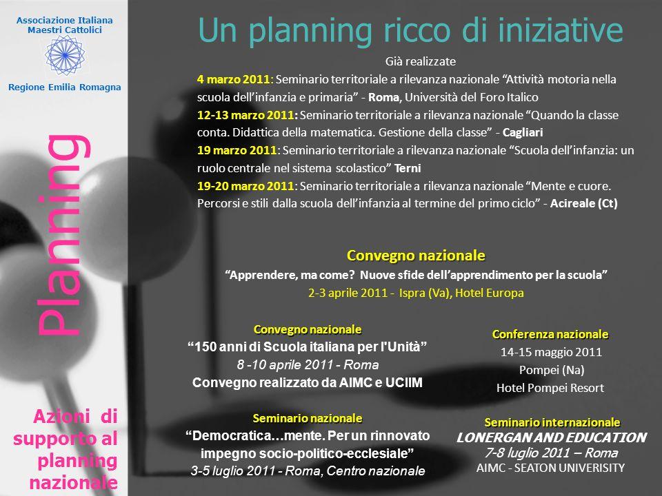 Associazione Italiana Maestri Cattolici Regione Emilia Romagna Un planning ricco di iniziative Azioni di supporto al planning nazionale Già realizzate