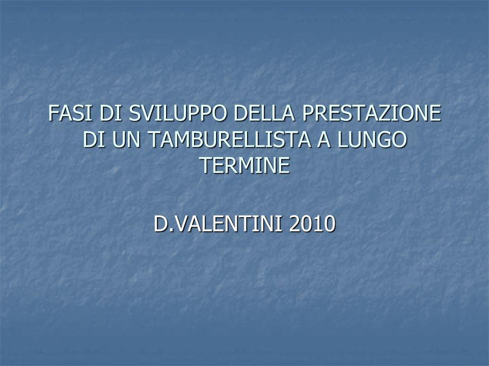FASI DI SVILUPPO DELLA PRESTAZIONE DI UN TAMBURELLISTA A LUNGO TERMINE D.VALENTINI 2010