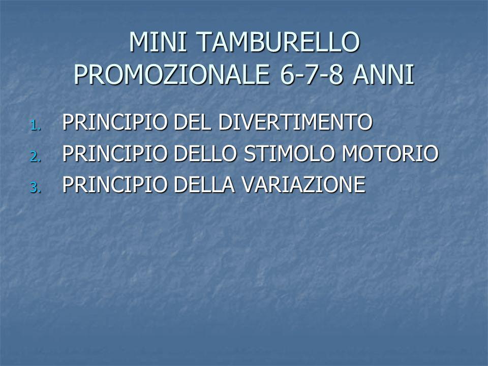 MINI TAMBURELLO PROMOZIONALE 6-7-8 ANNI 1. PRINCIPIO DEL DIVERTIMENTO 2. PRINCIPIO DELLO STIMOLO MOTORIO 3. PRINCIPIO DELLA VARIAZIONE