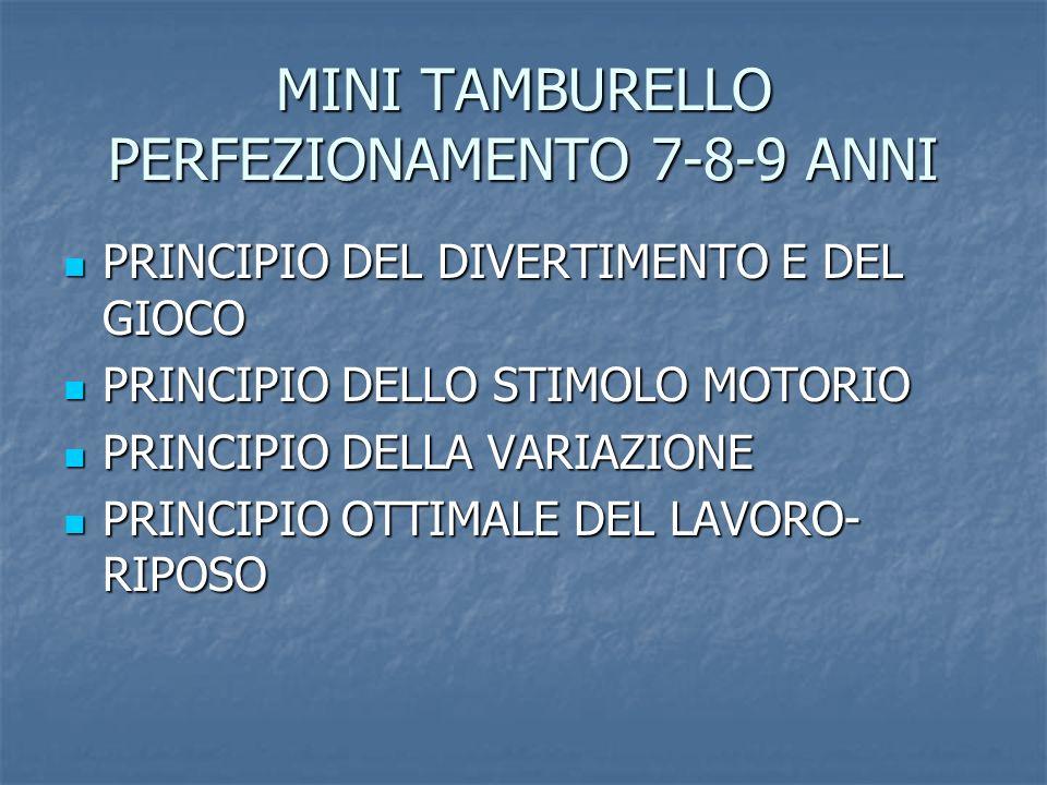 MINITAMBURELLO UNDER 10 8-9-10 ANNI PRINCIPIO DEL DIVERTIMENTO E DEL GIOCO PRINCIPIO DEL DIVERTIMENTO E DEL GIOCO PRINCIPIO DELLO STIMOLO MOTORIO PRINCIPIO DELLO STIMOLO MOTORIO PRINCIPIO DELLA VARIAZIONE PRINCIPIO DELLA VARIAZIONE PRINCIPIO OTTIMALE DEL LAVORO- RIPOSO PRINCIPIO OTTIMALE DEL LAVORO- RIPOSO