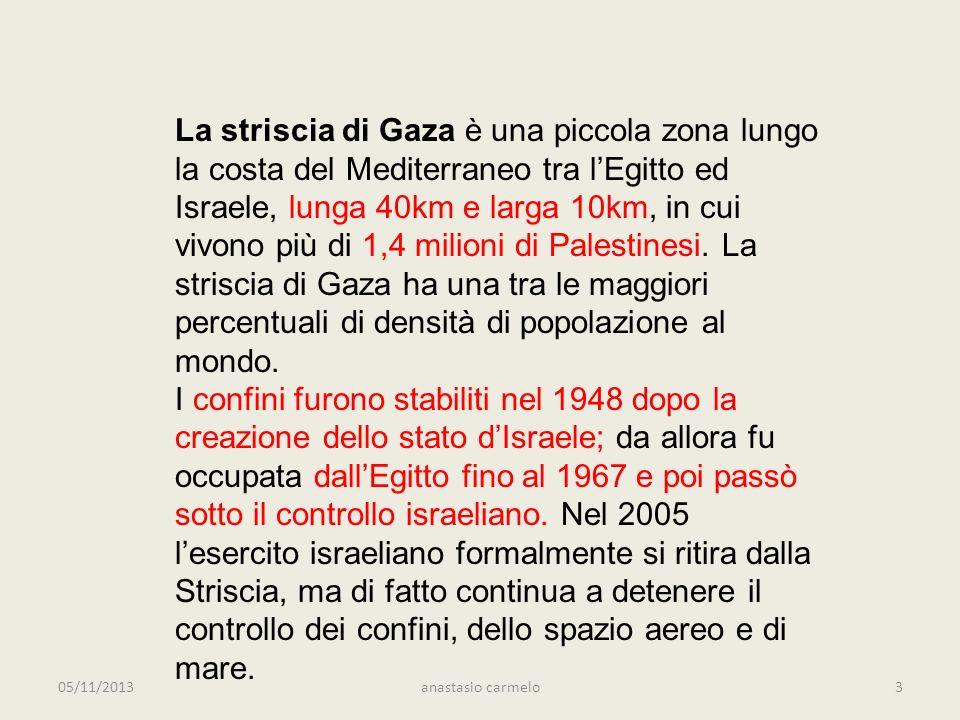 05/11/2013anastasio carmelo3 La striscia di Gaza è una piccola zona lungo la costa del Mediterraneo tra lEgitto ed Israele, lunga 40km e larga 10km, in cui vivono più di 1,4 milioni di Palestinesi.