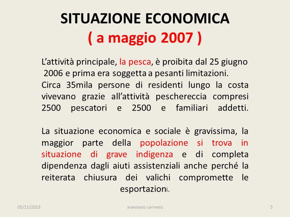 SITUAZIONE ECONOMICA ( a maggio 2007 ) Lattività principale, la pesca, è proibita dal 25 giugno 2006 e prima era soggetta a pesanti limitazioni.