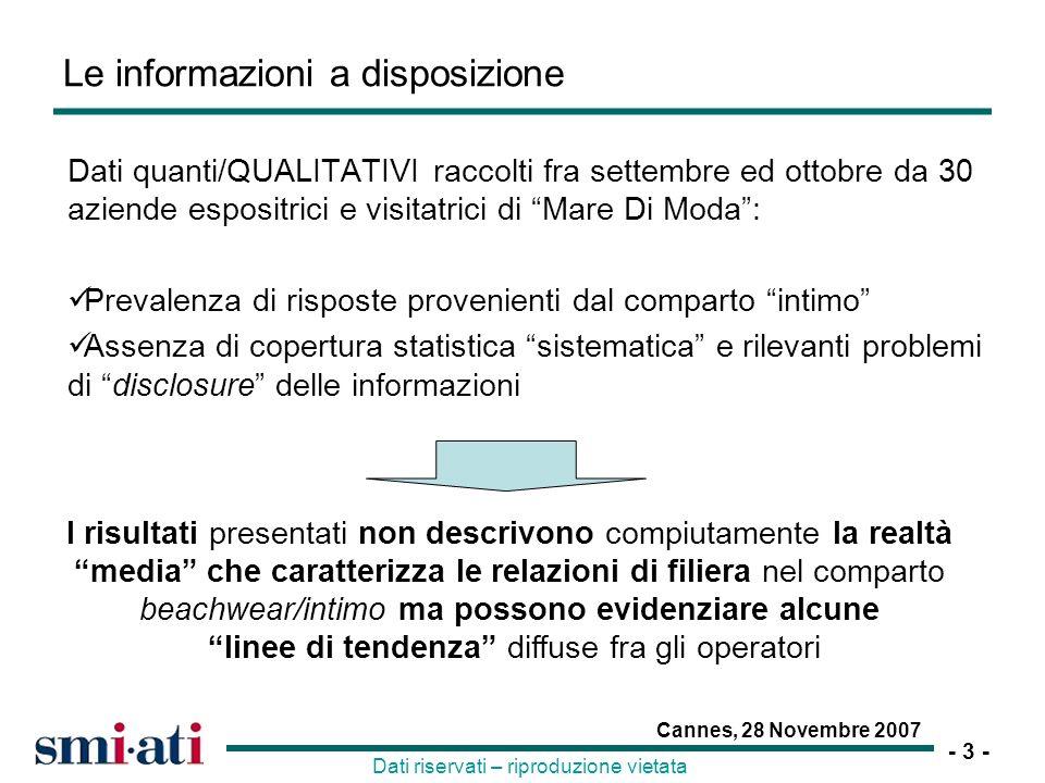 - 4 - Cannes, 28 Novembre 2007 Dati riservati – riproduzione vietata Le caratteristiche delle imprese aderenti allindagine Tessitura Fatturato-0.1 Produzione-3.2 Addetti-2.5 Confezione Fatturato1.0 Export/Fatt.