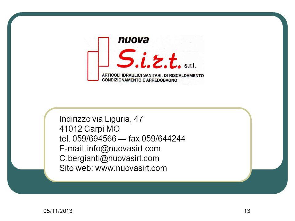 05/11/201313 Indirizzo via Liguria, 47 41012 Carpi MO tel.