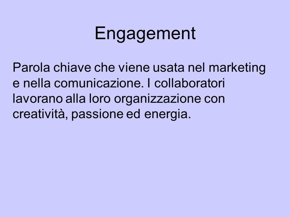 Engagement Parola chiave che viene usata nel marketing e nella comunicazione. I collaboratori lavorano alla loro organizzazione con creatività, passio