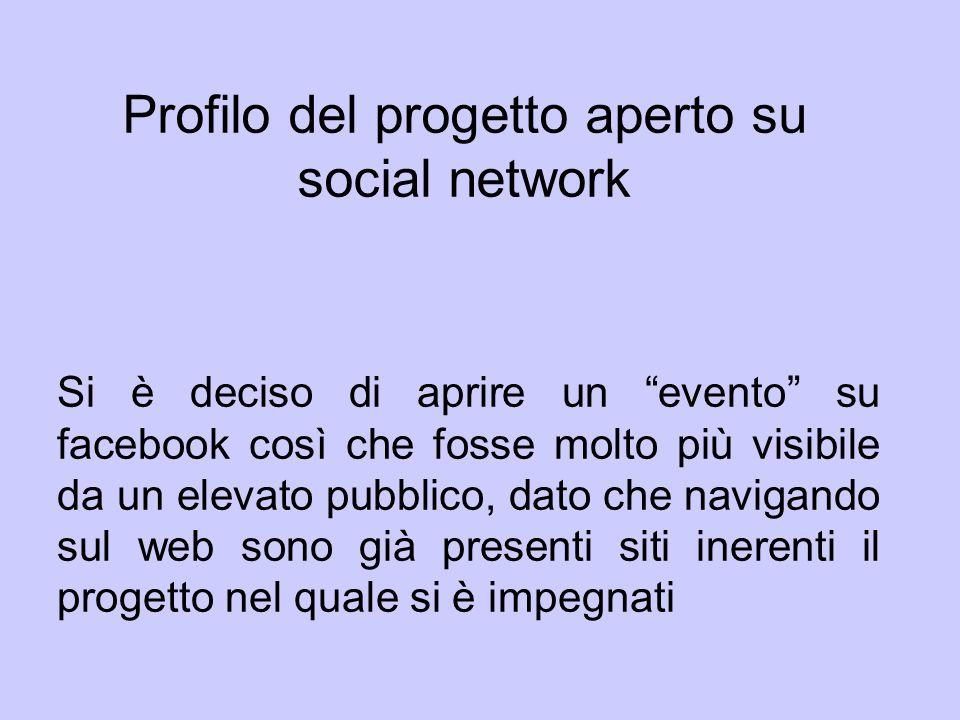 Profilo del progetto aperto su social network Si è deciso di aprire un evento su facebook così che fosse molto più visibile da un elevato pubblico, da