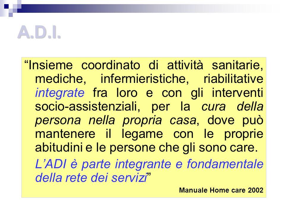 A.D.I. Insieme coordinato di attività sanitarie, mediche, infermieristiche, riabilitative integrate fra loro e con gli interventi socio-assistenziali,