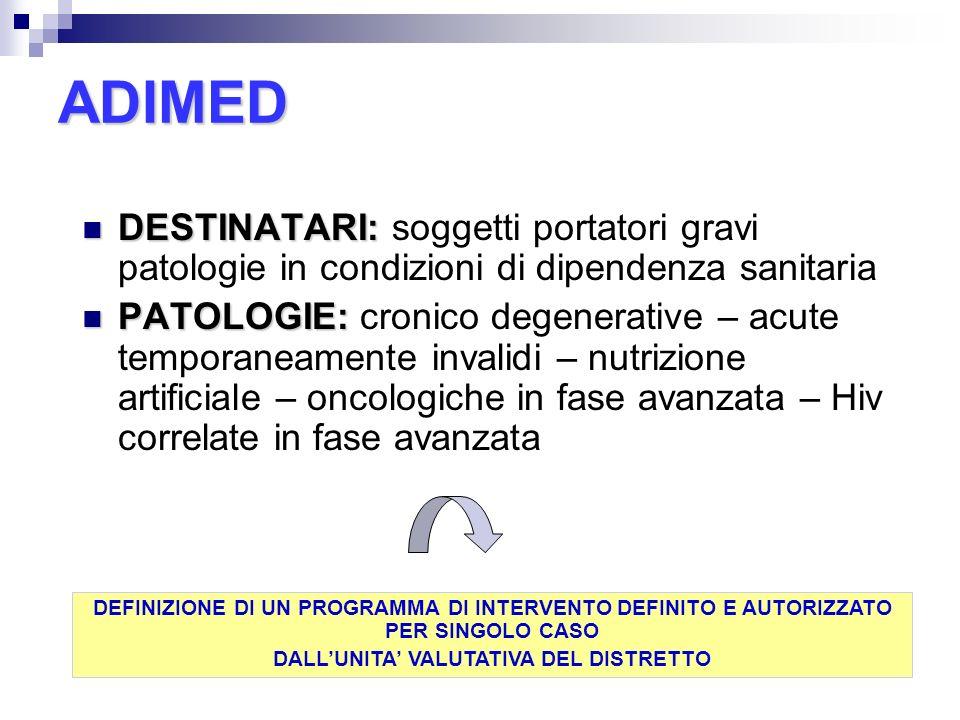 ADIMED DESTINATARI: DESTINATARI: soggetti portatori gravi patologie in condizioni di dipendenza sanitaria PATOLOGIE: PATOLOGIE: cronico degenerative –