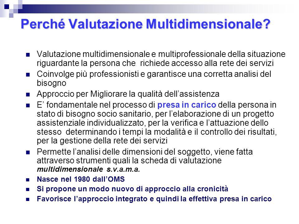 Perché Valutazione Multidimensionale? Valutazione multidimensionale e multiprofessionale della situazione riguardante la persona che richiede accesso