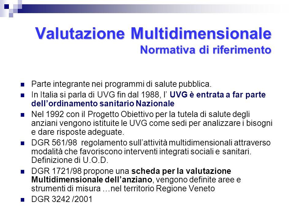 Valutazione Multidimensionale Normativa di riferimento Parte integrante nei programmi di salute pubblica. In Italia si parla di UVG fin dal 1988, l UV